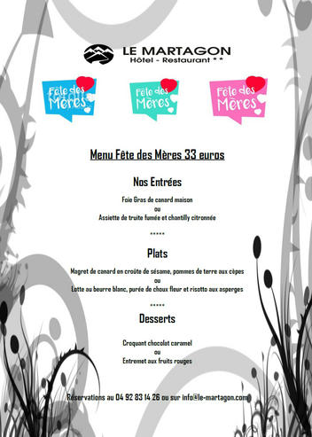 Our Menu for mother day this sunday 27 of May